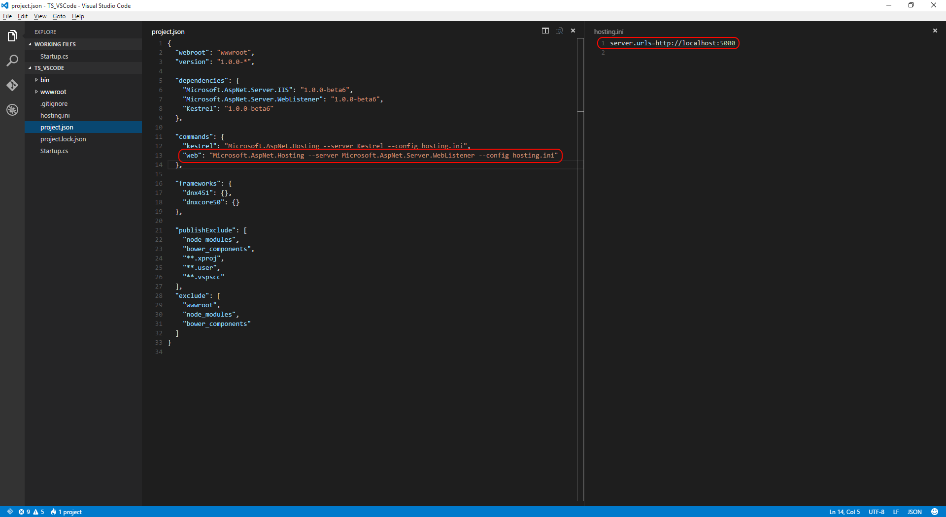 VS Code showing project.json web command pointing at hosting.ini