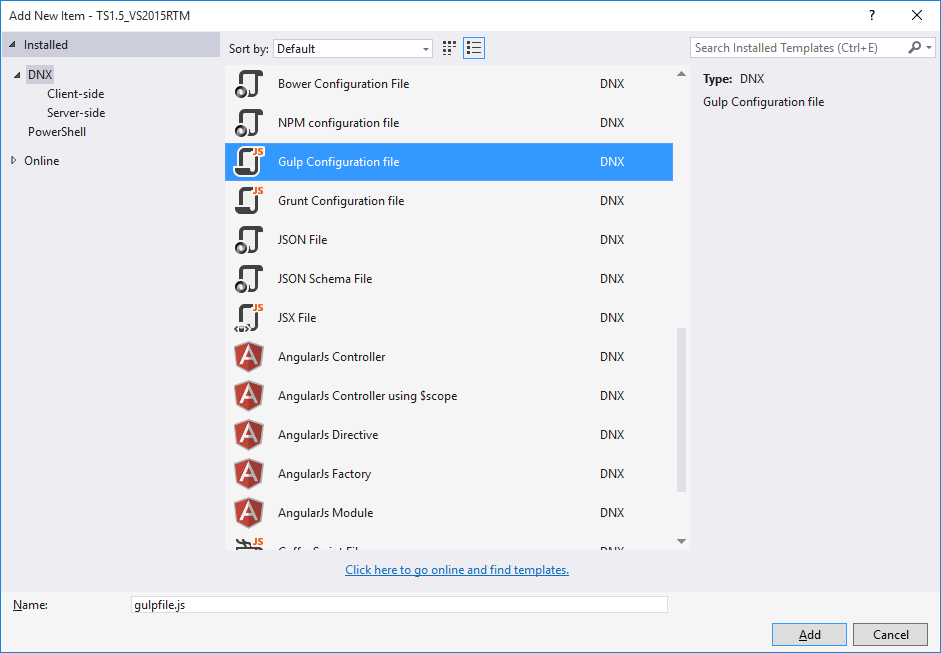 Dialogue to add a  Gulp Configuration File in Visual Studio 2015 - Needed for TypeScript compilation