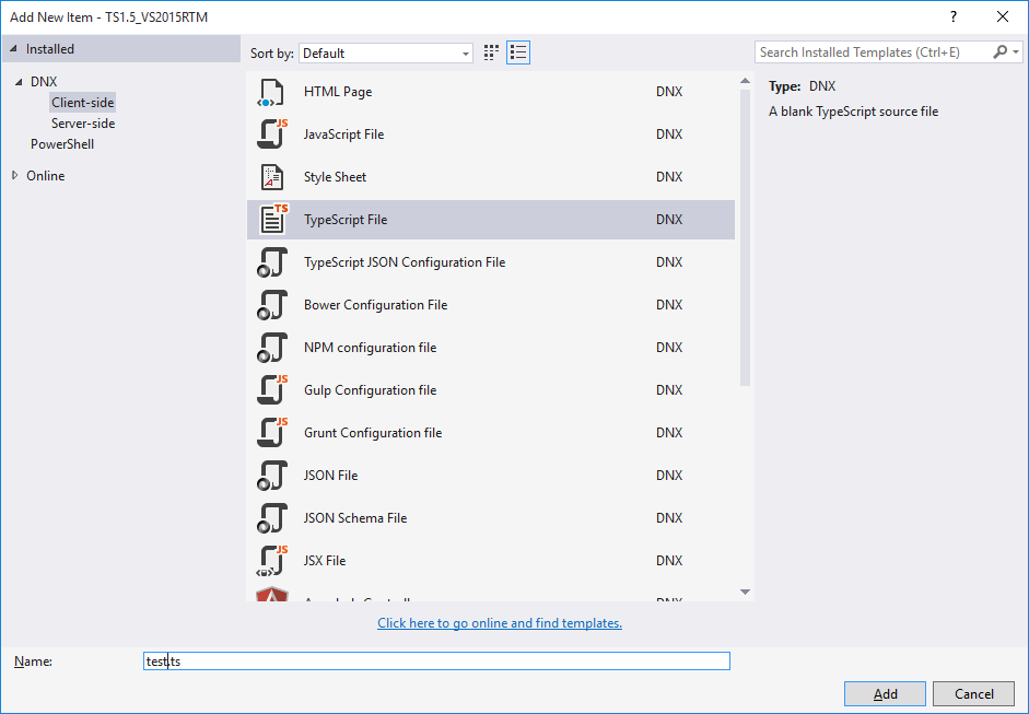 Dialogue for  adding a TypeScript file in Visual Studio 2015