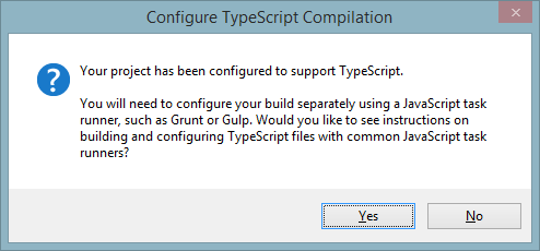 Alert box saying Configure TypeScript Compilation