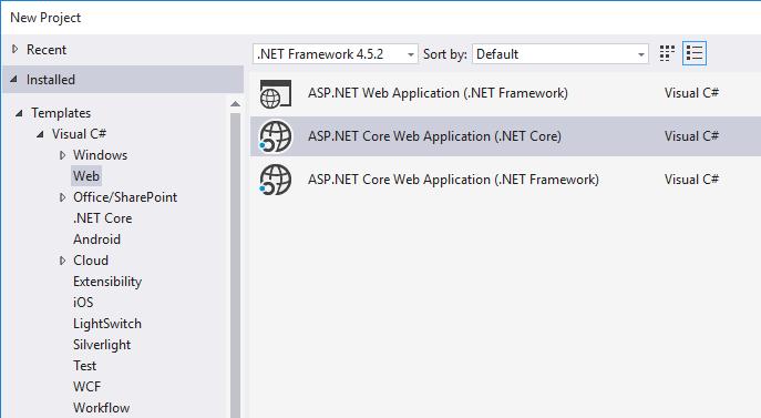 Create a new ASP.NET Core Web APP