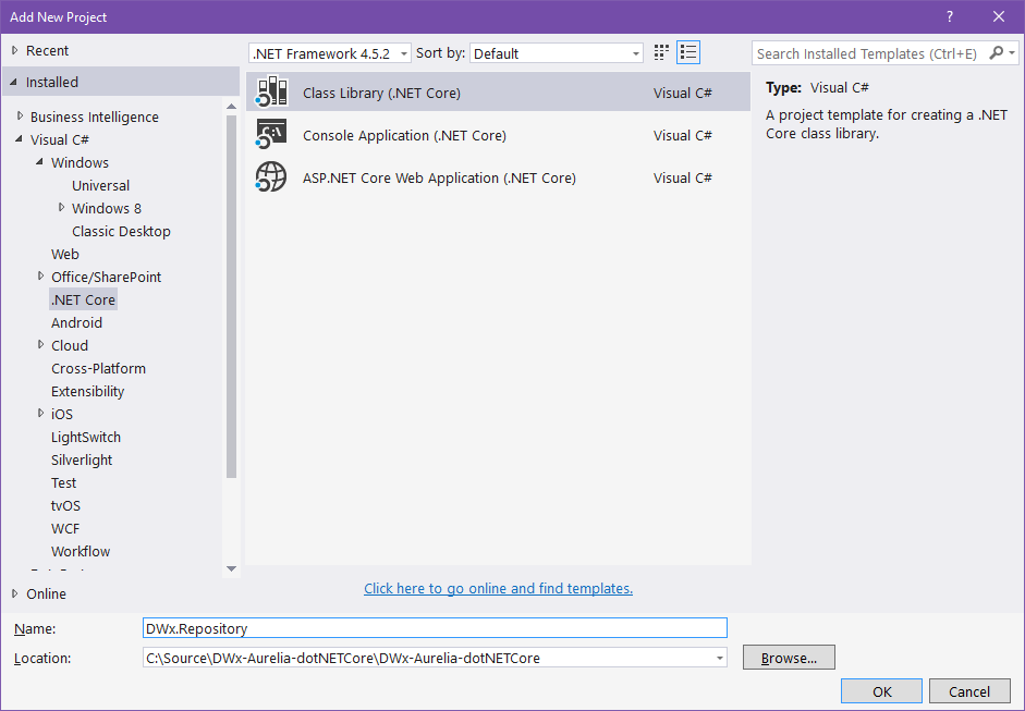 Creating a Class Library project for .NET Core in Visual Studio 2015