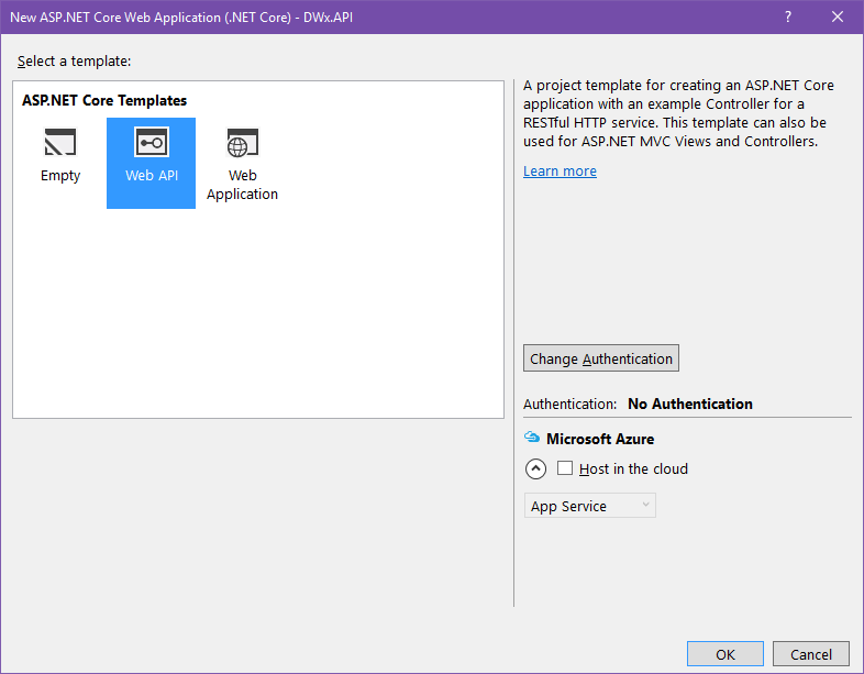 Dialogue showing create Web API in Visual Studio 2015