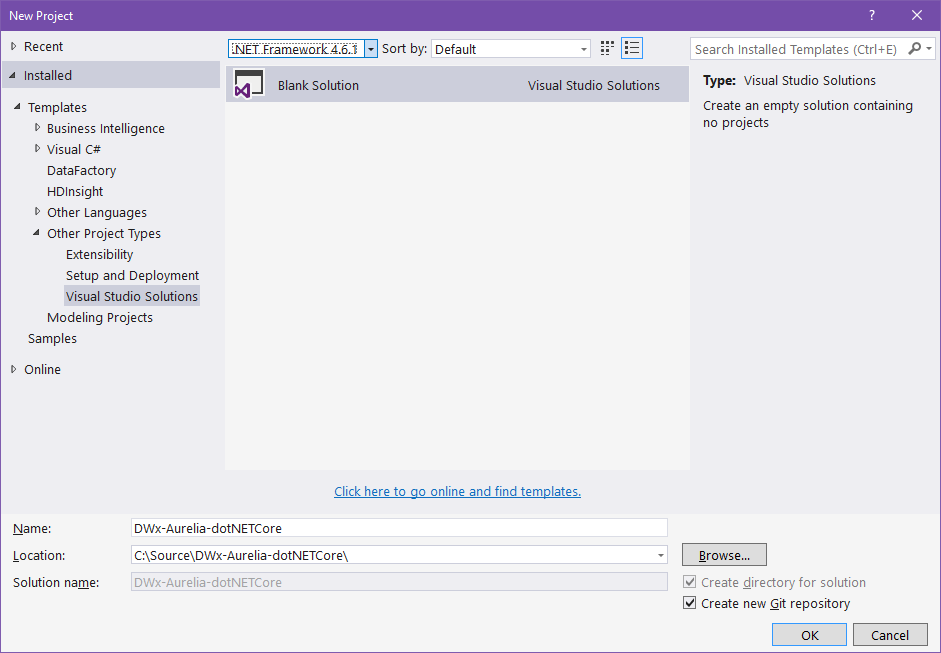 Create-empty-solution-in-Visual-Studio