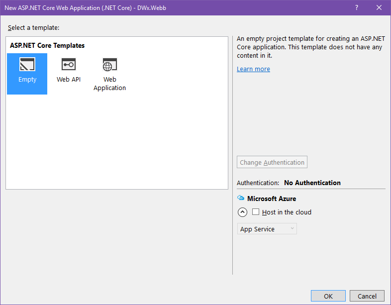 Dialogue showing second step in create web project in Visual Studio 2015
