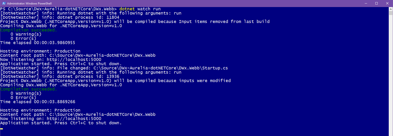dotnet watch restarting the application after a file is modified