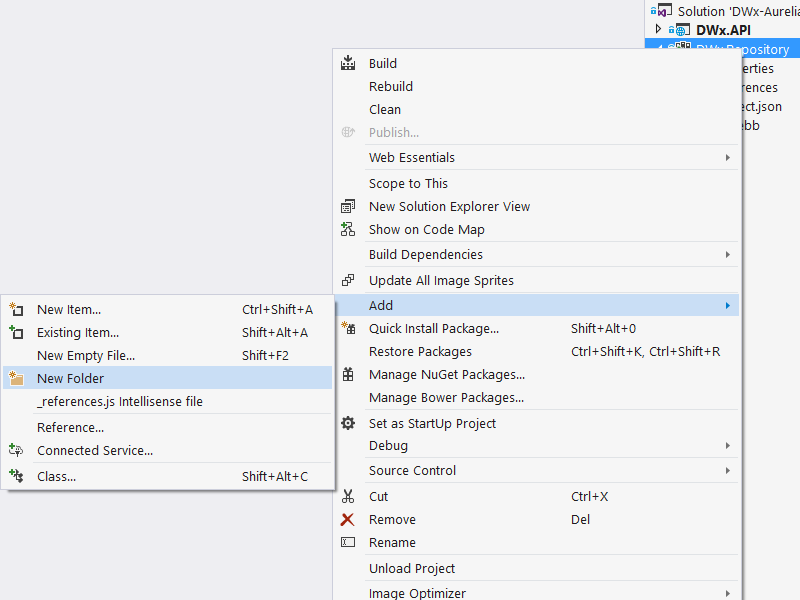 Adding a new folder in Visual Studio