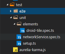 folder structure for unit tests and e2e tests in aurelia spa