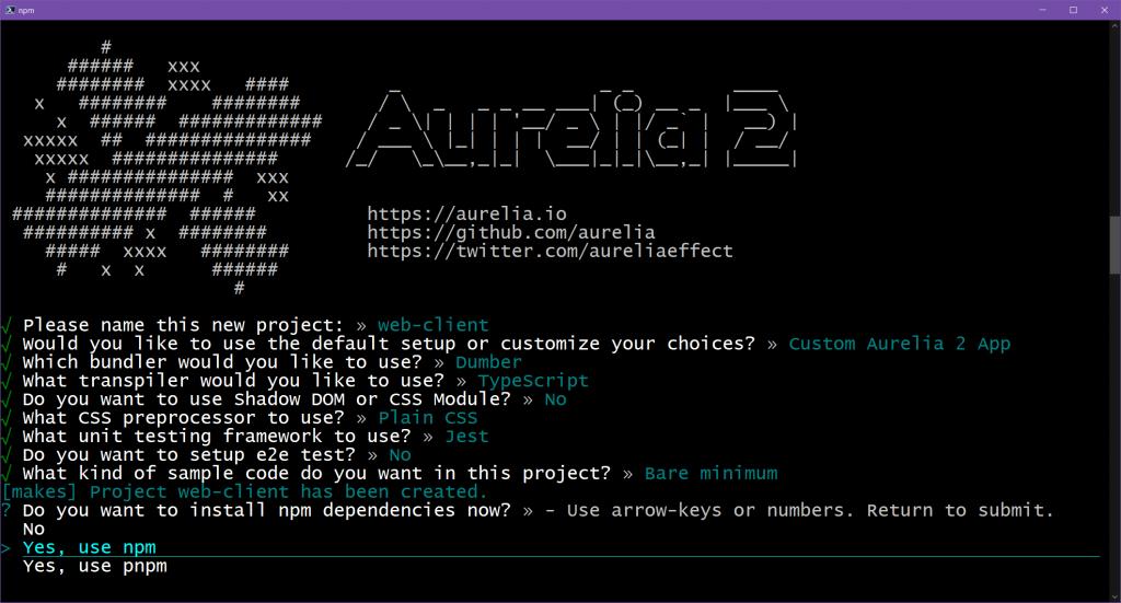 Aurelia 2 project creation