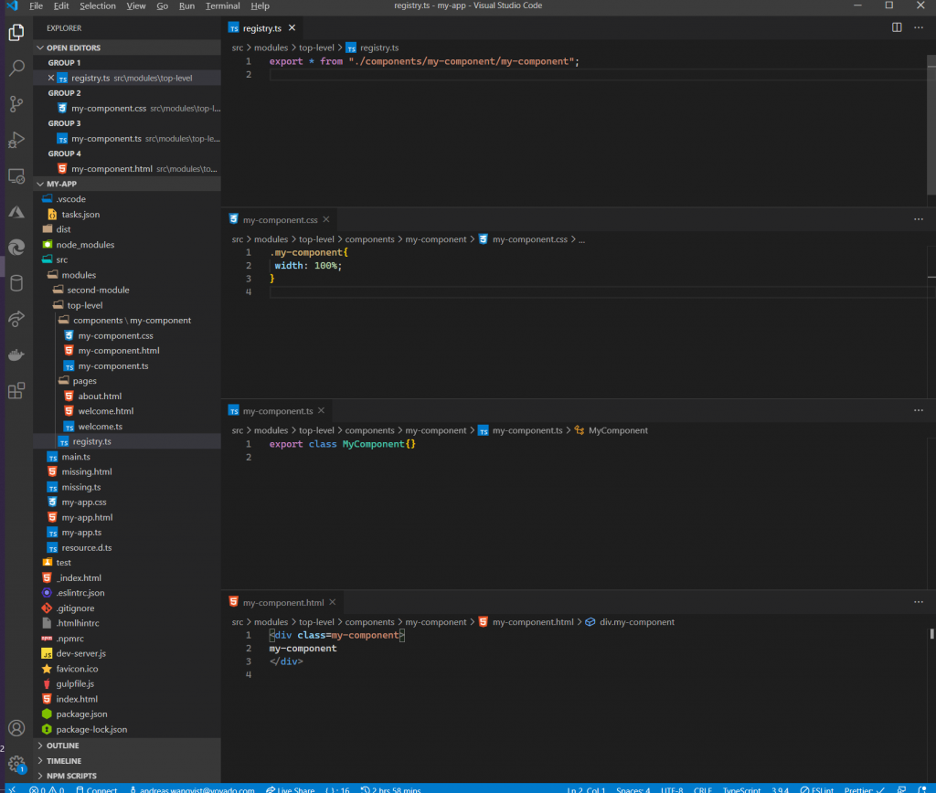 An Aurelia 2 component created by the vs code task
