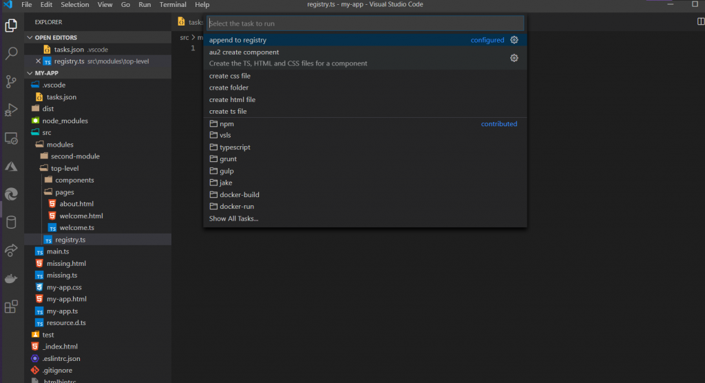 Selecting the main task from vs code