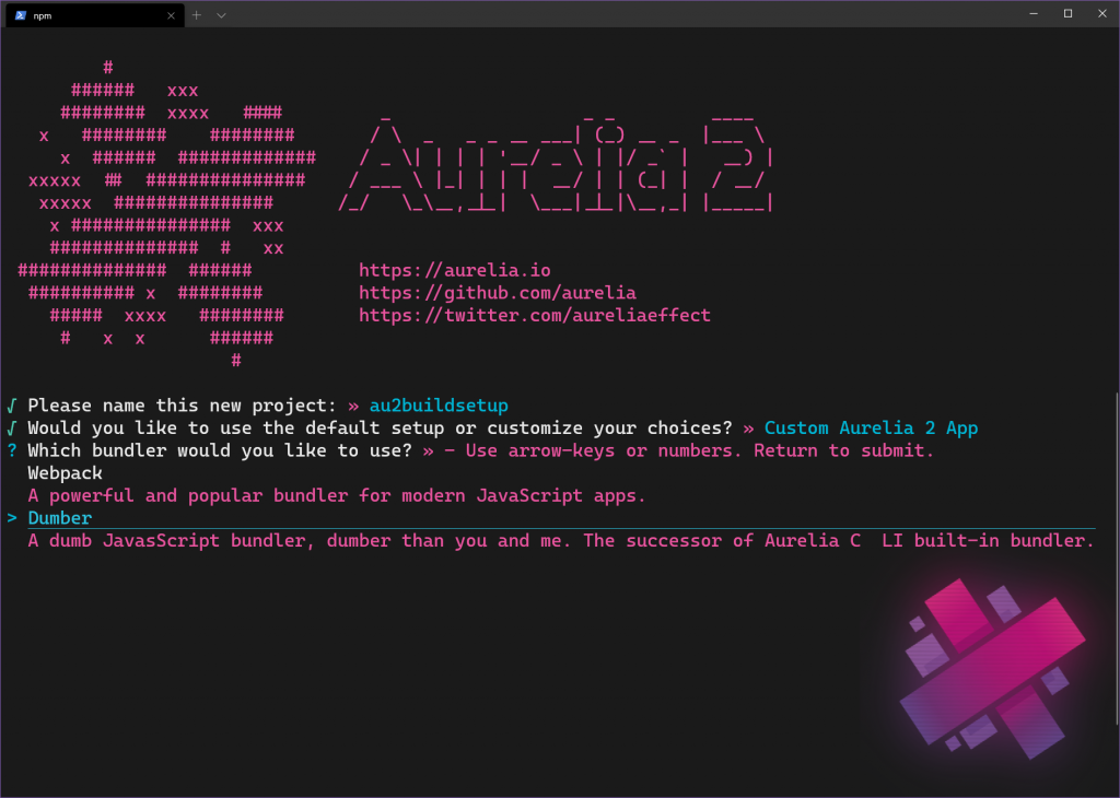 An Aurelia 2 project build setup using dumber as bundler